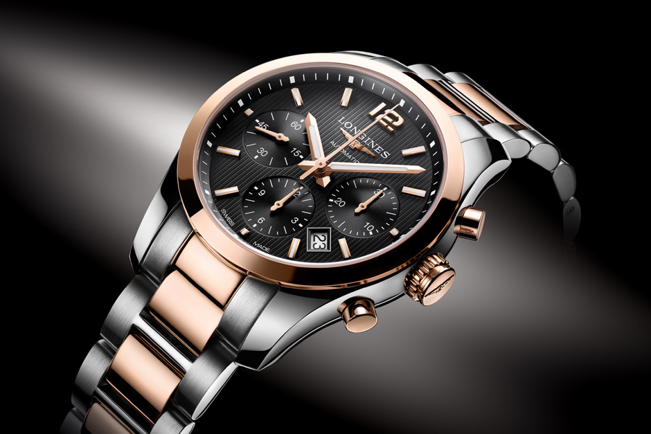 Longines Conquest Classic Chronograph Stainless Steel and 18kt Rose Gold 7d514bc10fa
